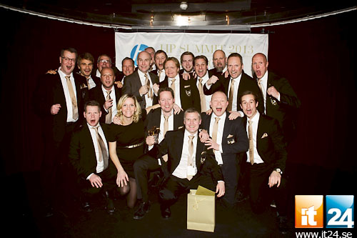 Lika glada vinnare av Guldmyran och kategorin Print Solution Partner of the Year, Svensk IT-Funktion. <br />